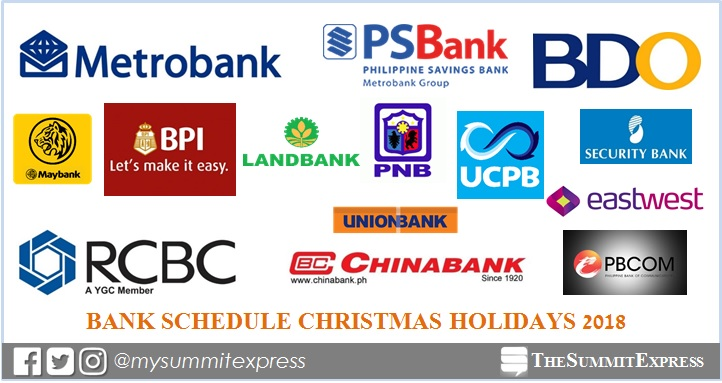 Bank Schedule for Christmas Holidays 2018, New Year