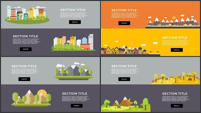 Flat Design Mountains Section Title PowerPoint Template Slide 17-20