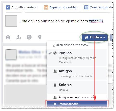 Opciones de privacidad en publicaciones - MasFB