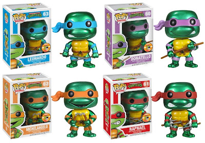 San Diego Comic-Con 2013 Exclusive Metallic Teenage Mutant Ninja Turtles Pop! Vinyl Figures by Funko - Leonardo, Donatello, Michaelangelo & Raphael
