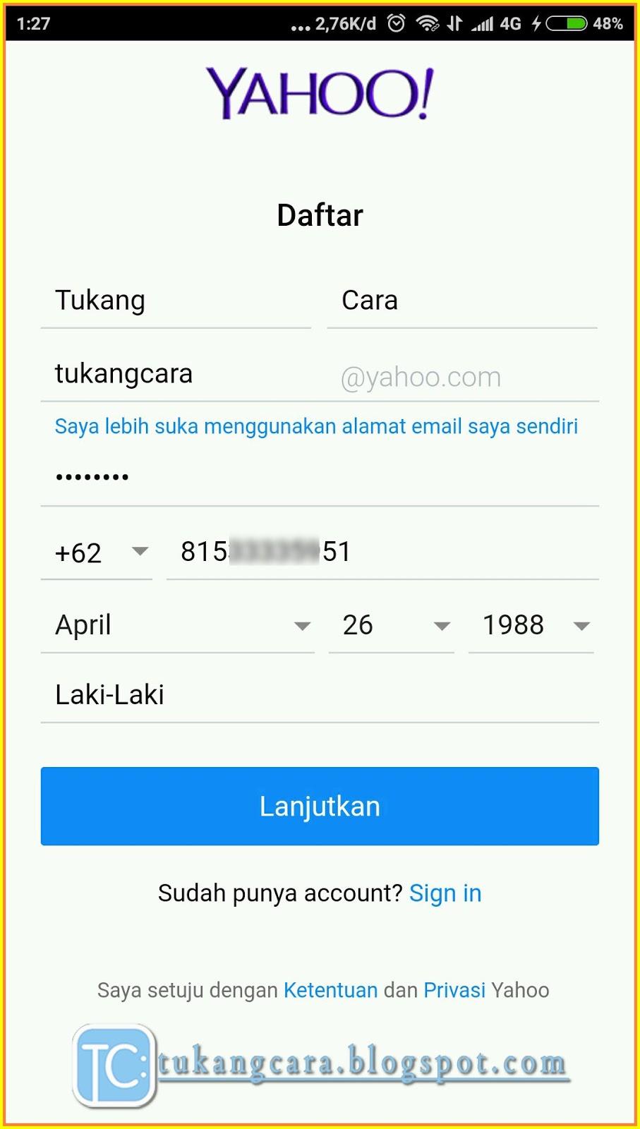 Buat Email Yahoo Lewat HP Bahasa Indonesia Lengkap Dengan
