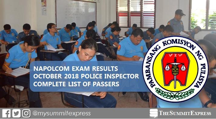 October 2018 NAPOLCOM Exam Result for Police Inspector