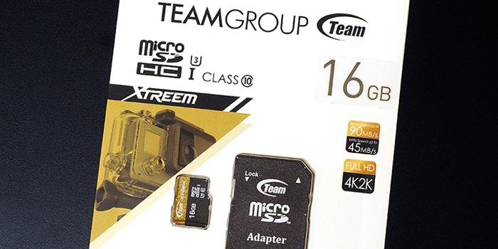 TEAM Xtreem マイクロSDカードの製品パッケージ
