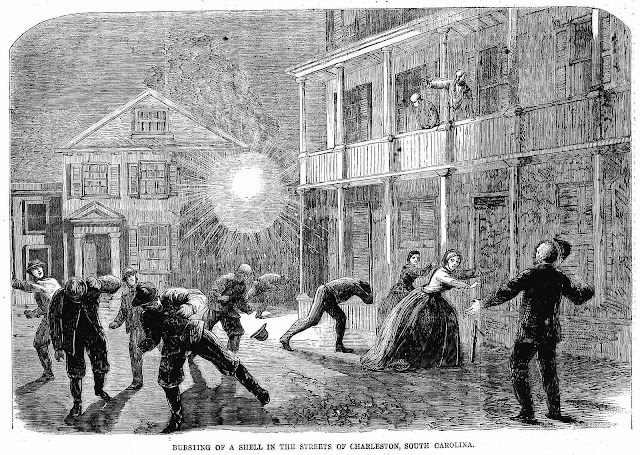 An illustration of shell bursts and civilians in Charleston 1864