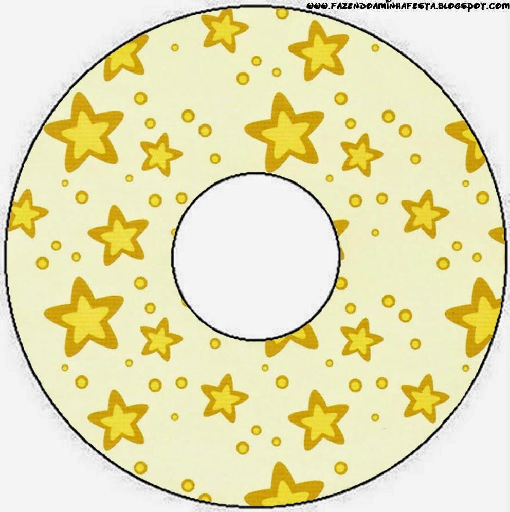Etiqueta CD´s  para Imprimir Gratis de Estrellas Doradas y Rayas de Colores.