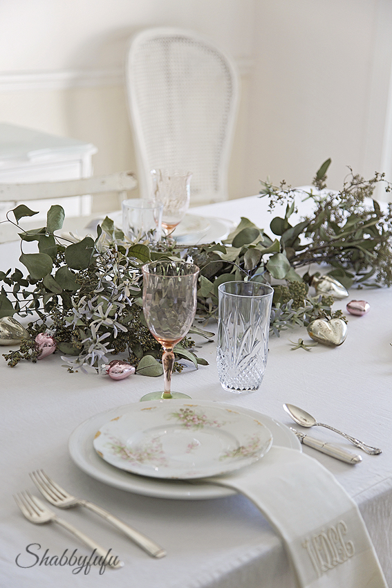 eucalyptus table garland with dried flowers