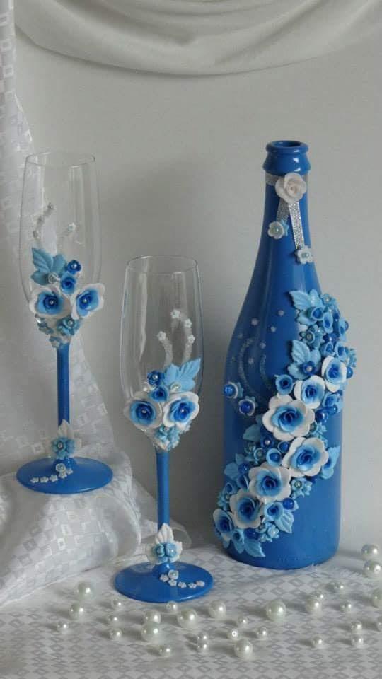 M nica ericeira reciclagem de garrafas de vidro decoradas - Decorar botellas de cristal ...