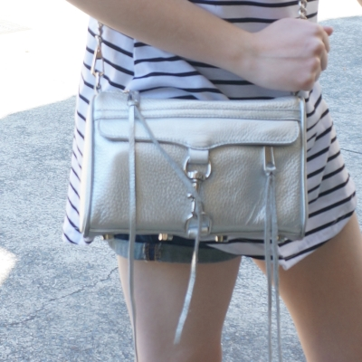 Away From Blue |  Rebecca Minkoff metallic silver mini MAC