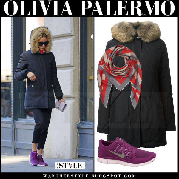 Olivia Palermo in black fur trim woolrich arctic parka and purple nike sneakers what she wore streetstyle