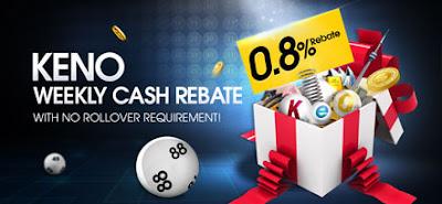 Play M88 Keno 0.8% Weekly Super Cash Rebate
