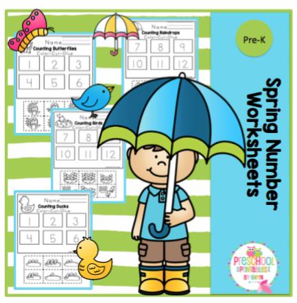 Spring Number Worksheets (color-cut-glue numbers 1-12) ~ Preschool ...