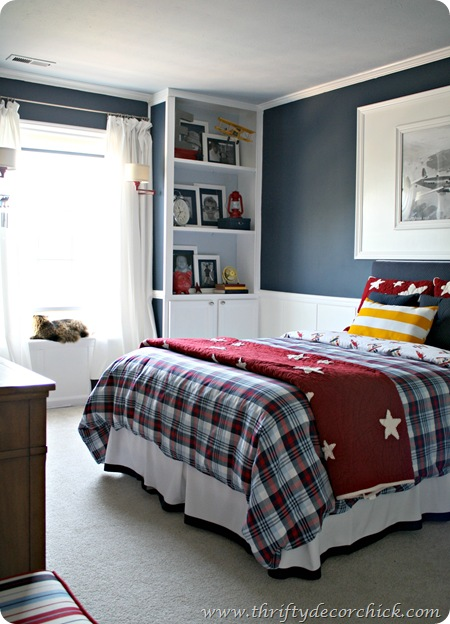 red, white and blue boy room