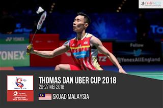 Pemain Malaysia di Thomas dan Uber Cup 2018