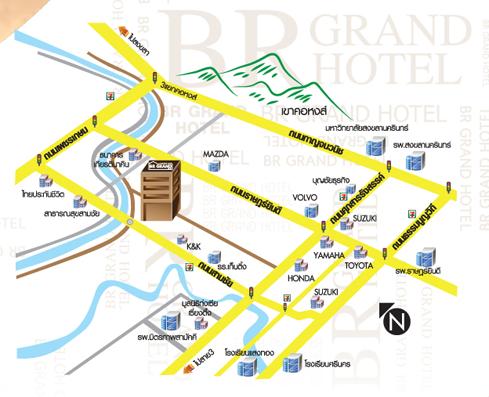 แผนที่ โรงแรม BR GRAND HOTEL หาดใหญ่