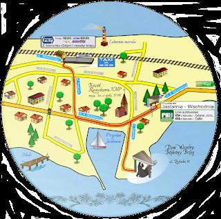 Fragment mapki z treścią informacyjną dla gości.