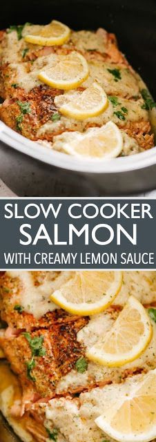 Slow Cooker Salmon with Creamy Lemon Sauce