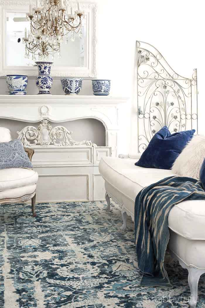 blue summer living room design french country