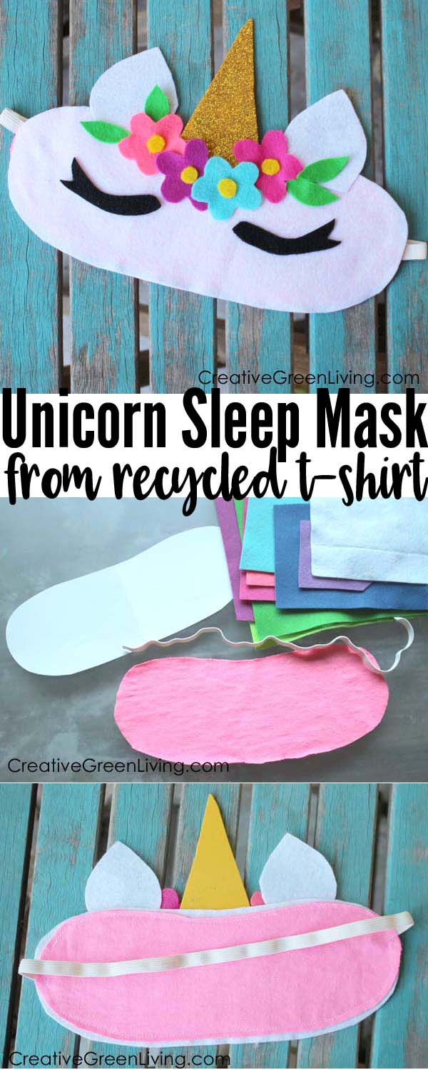 How to make a DIY Unicorn sleeping mask craft. Includes free printable template. This is the perfect make and take craft for a kids birthday party or girls sleepover!