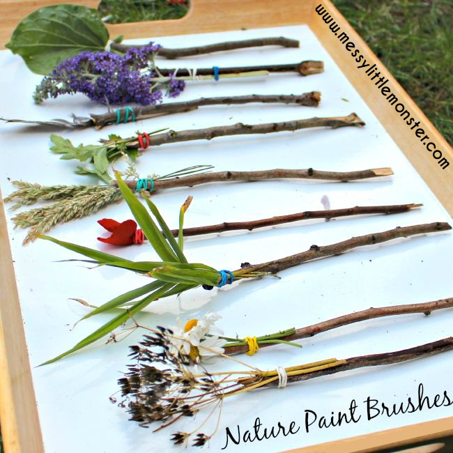 Nature paintbrushes messy little monster for Best paint for outdoor crafts