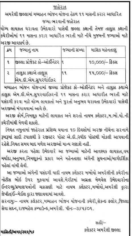 Mid Day Meal Project Amreli Recruitment 2016 for 12 Coordinator & Supervisor Posts
