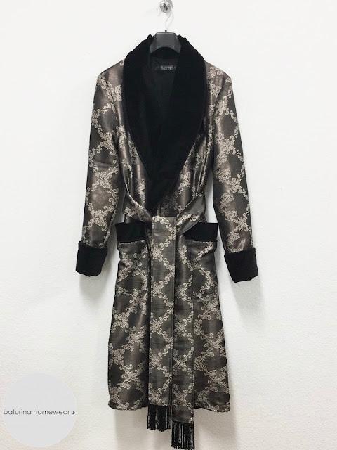 Gentleman's long dressing gown men's cotton velvet robe black paisley