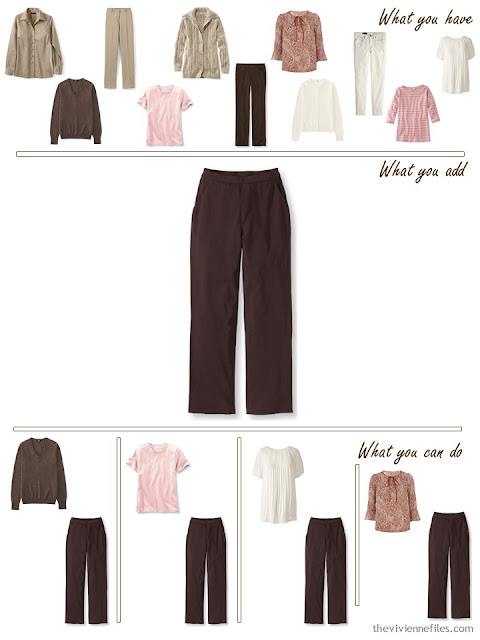 add brown pants to a khaki, brown and pink wardrobe