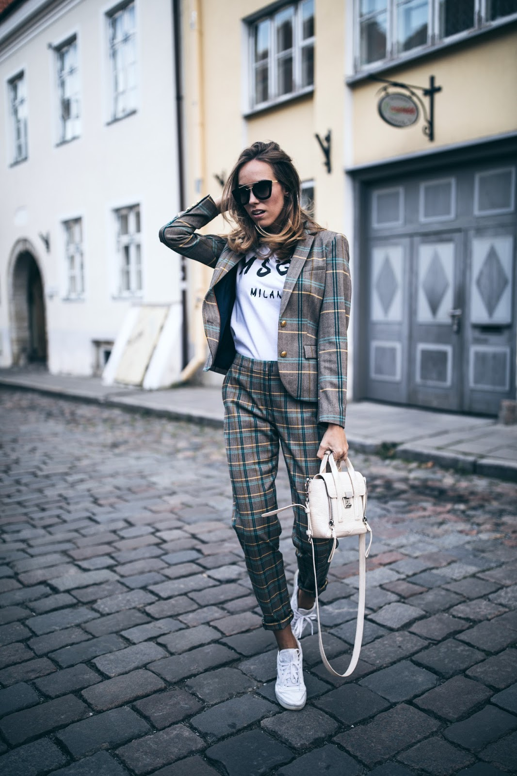 matching checked suit outfit fall