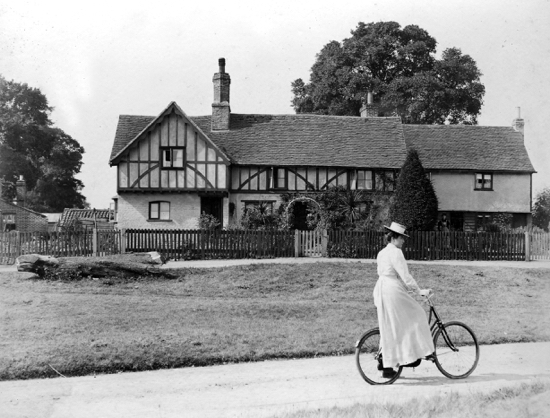 "Picture of Minnie Chuck outside ""Mother Chuck's Cottage"" at Water End 1902. Picture by Geo. Knott."