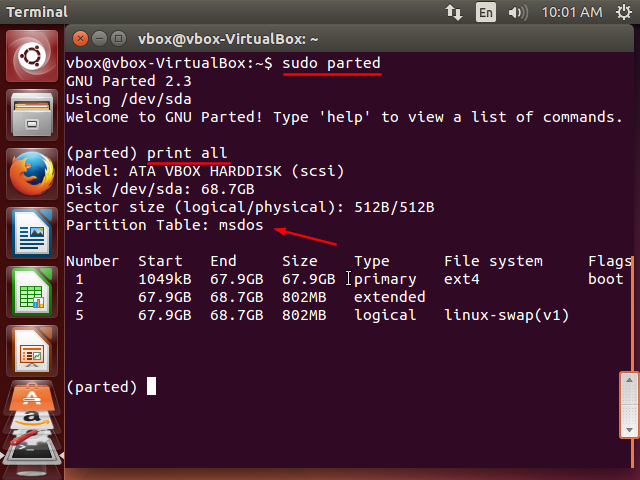 parted showing disk information and partition table - Terminal screenshot