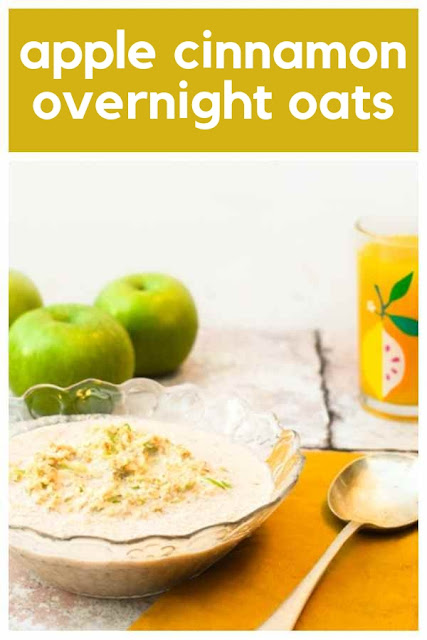 An easy recipe for apple pie flavoured oats. These apple and cinnamon overnight oats can be made in 5 minutes before you head to bed, then they are ready to eat when you get up in the morning. #overnightoats #breakfast #porridge #porridgeoats #quickbreakfast #veganbreakfast #maplesyrup #apples #greenapples