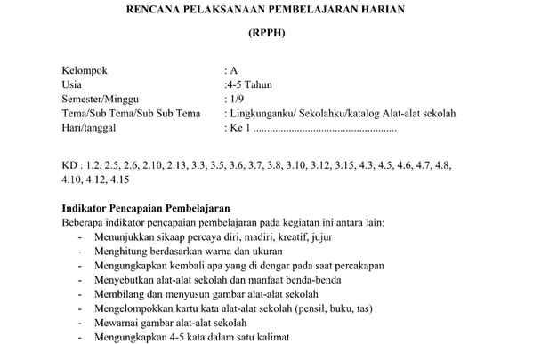 RPPH PAUD Kurikulum 2013 TK A Minggu 9