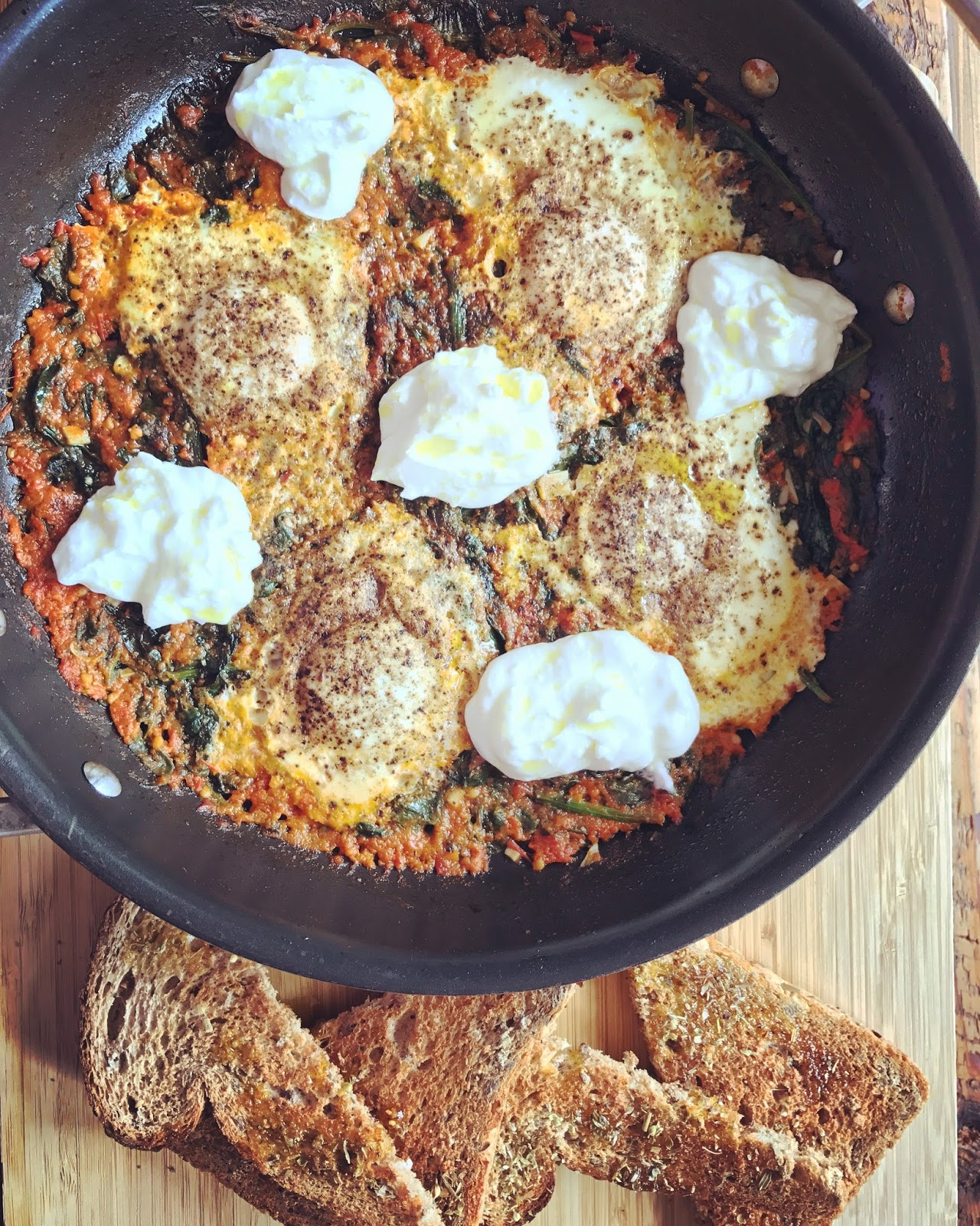 Sunday Brunch - Mediterranean Eggs with Spinach and Greek