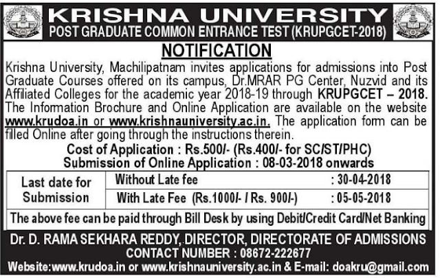 KRUCET notification 2020 - 2021 Krishna University pgcet apply online