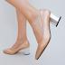 Pantofi de zi aurii eleganti cu toc mic gros ieftini la moda