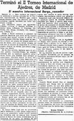 Crónica de Román Torán sobre el II Torneo Internacional de Ajedrez Madrid 1957 en La Vanguardia