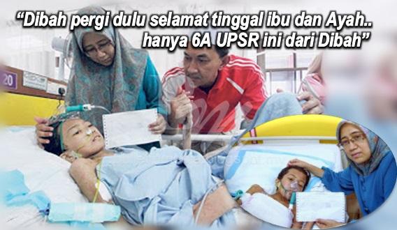 """Sayu : """"Dibah pergi dulu selamat tinggal ibu dan Ayah..hanya 6A UPSR ini dari Dibah"""" (4Gambar)"""