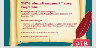 Dtb bank Kenya opens graduate trainees applications for 2017