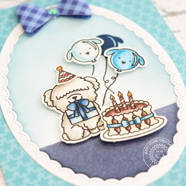 Sunny Studio Stamps: Party Pups Fancy Frames Monochromatic Puppy Birthday Card by Lexa Levana