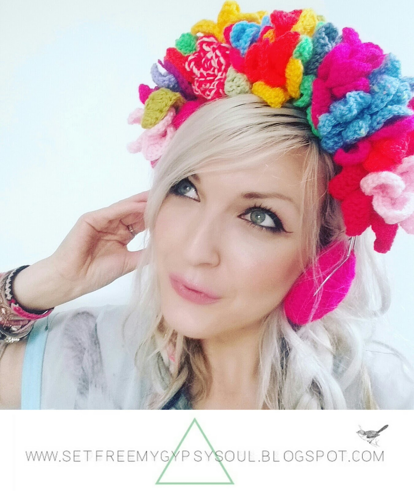 free flower crown headphones crochet pattern boho bohemian hippie bright