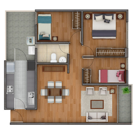 Plano de departamento de 70 m2 planos de casas gratis y for Casas modernas de 70m2