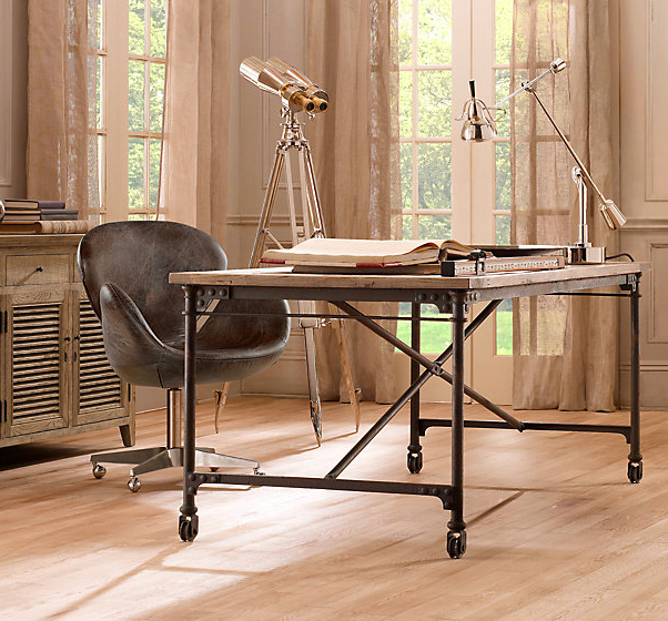 restoration hardware u0027s garment factory desk would also make a very cool kitchen table  it has a cast iron base and aluminum top and again has an industrial     kitchens with small dining spaces  use a desk for your table      rh   drivenbydecor com