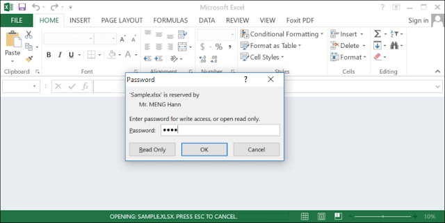 open document with password to modify in excel