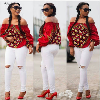 ankara cold shoulder and jeans