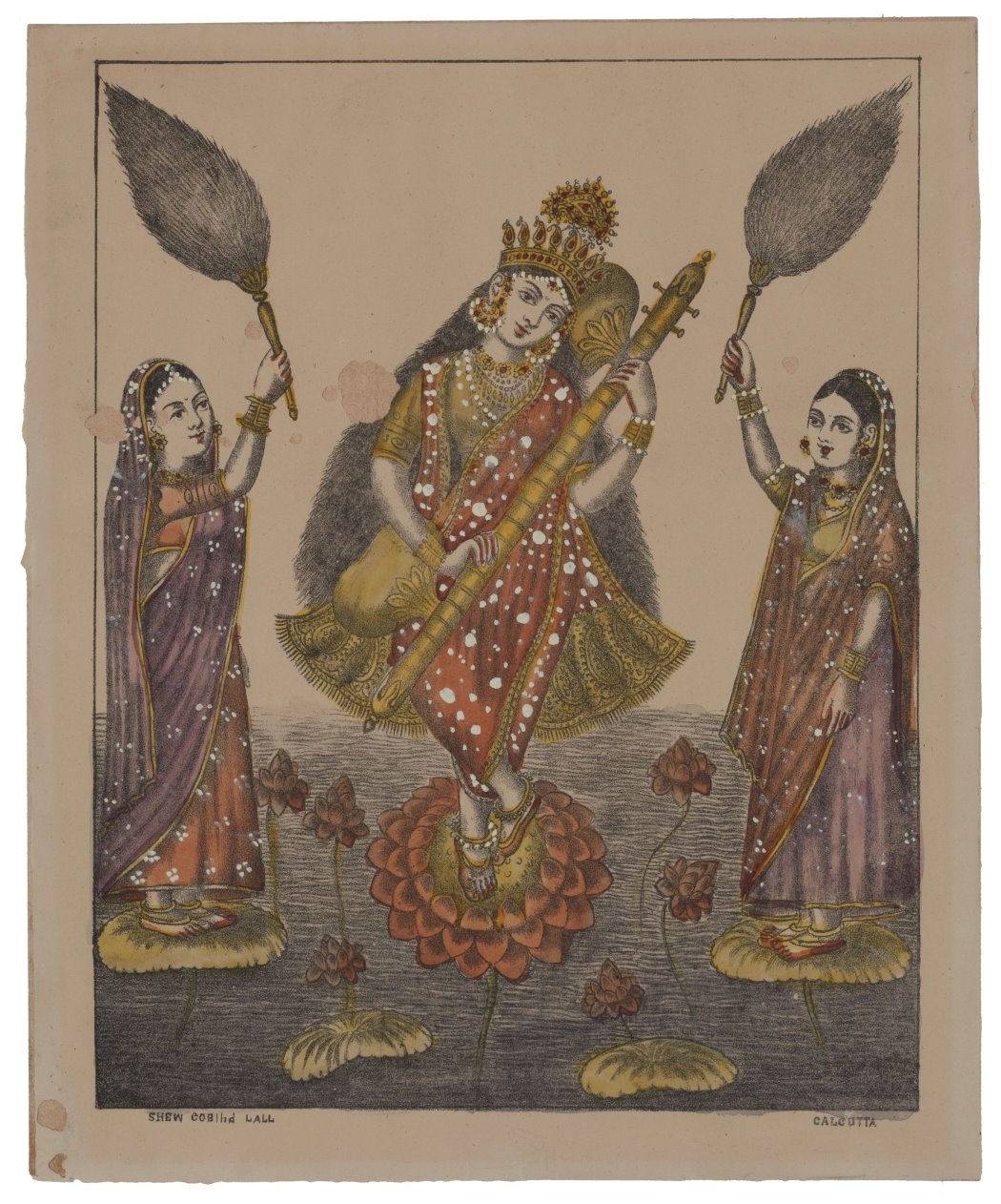 Goddess Saraswati - Vintage Print c1870-80's