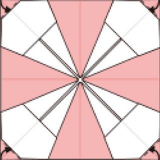 Bước 9: Gấp và nhét góc giấy vào trong giữa hai lớp giấy