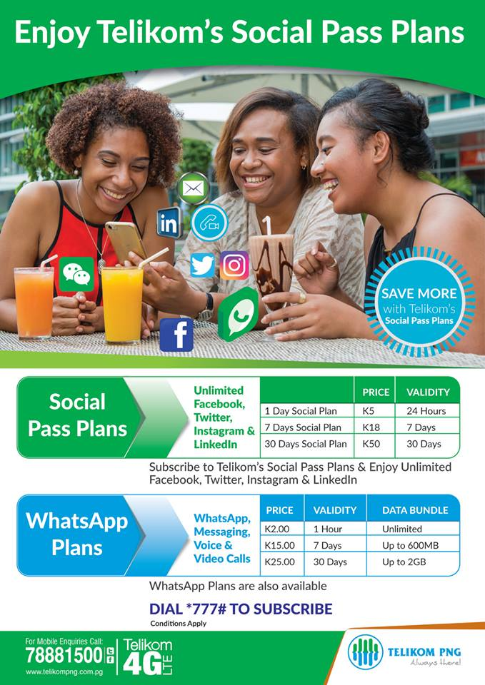 Telikom PNG announces Social Pass Plans on its network - PNG