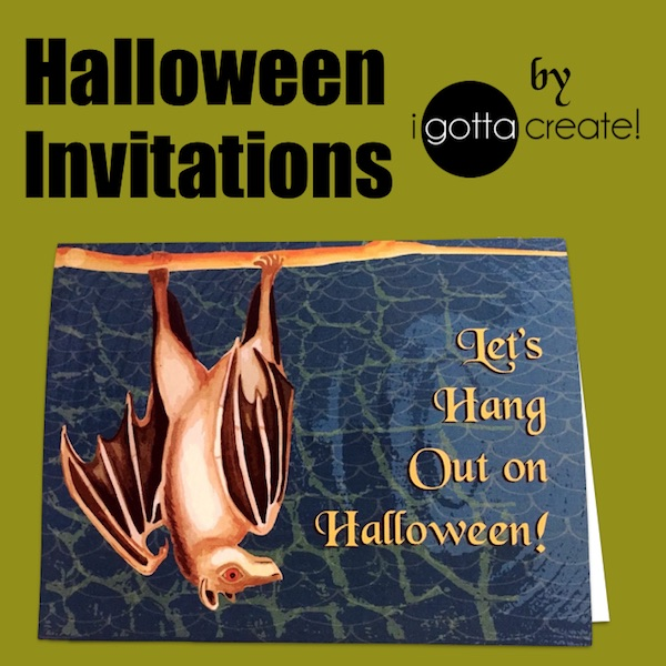 Mega Bat printable Halloween Party Invitations match my free printable calendar! | Visit I Gotta Create!
