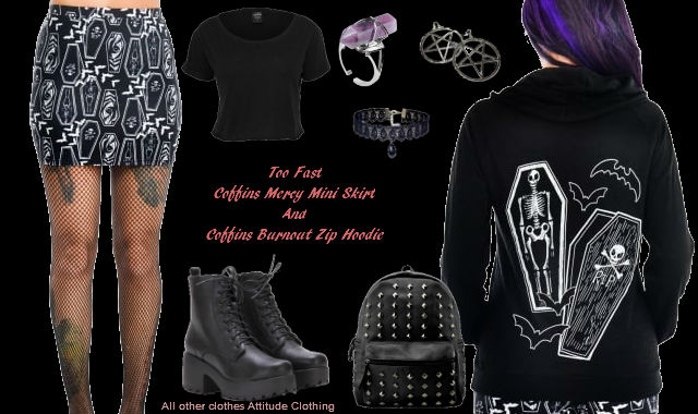 Coffins Burnout Zip Hoodie Coffins Mercy Mini Skirt