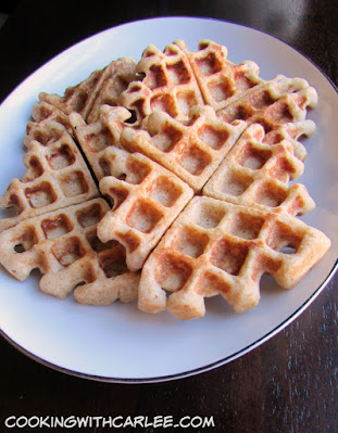 platter of golden belgian waffles