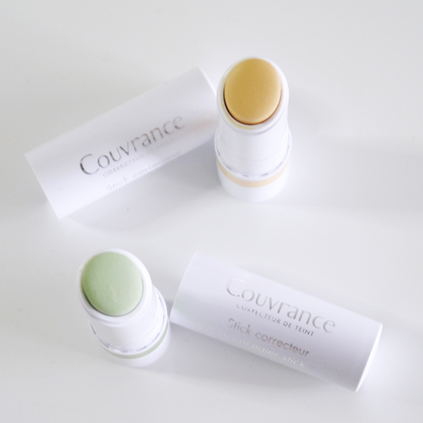 Avene Couvrance SPF 20 Concealer Sticks in green and yellow